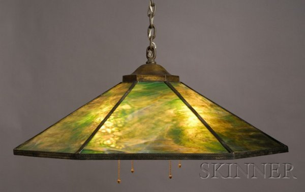 24: Bigelow & Kennard Hanging Lamp Slag glass and metal