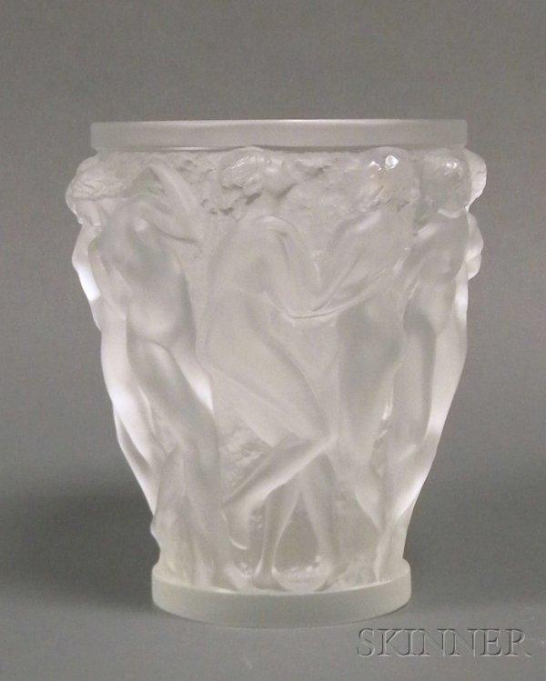288: Lalique Bacchantes Vase Art glass France, 20th cen