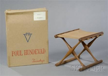 506: Poul Hundevad Stool in Original Box Teak and leath