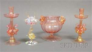 607 Four Venetian Glass Items Art glass Italy Pair of