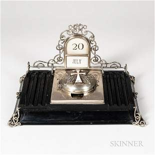 Victorian Sterling Silver and Wood Inkstand