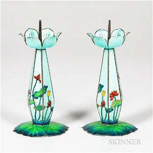 Pair of Enameled Silver Candlesticks