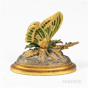 Cold-painted and Gilded Bronze Mechanical Butterfly