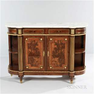 Ormolu-mounted and Marble-top Mahogany Console
