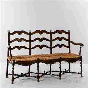 French Provincial Caned Three-seat Bench