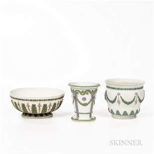 Three Tricolor Jasper Items