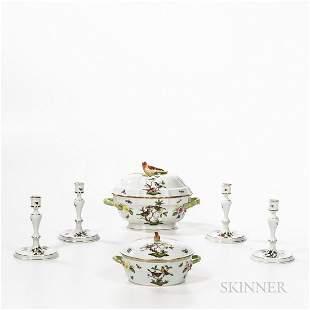 Six Herend Rothschild Bird Pattern Items
