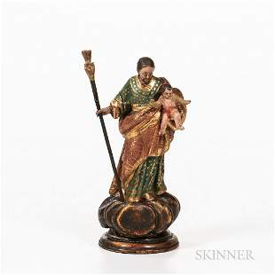 Carved and Painted Santos Figure of Saint Joseph and