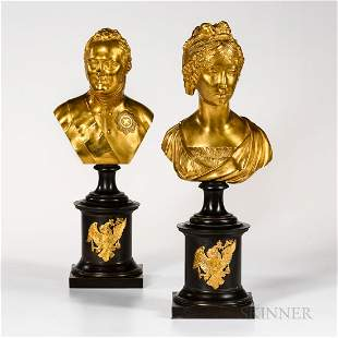 Pair of Gilded and Patinated Bronze Busts