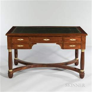 Second Empire-style Leather-top Mahogany Desk