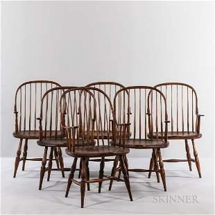 Six Continuous-arm Windsor Walnut Armchairs