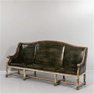 Swedish Painted Leather Sofa