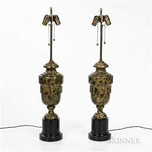 Pair of Italian Faux Marble Lamps
