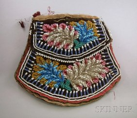 Iroquois Beaded Pouch, Ht. 6 3/4 In.
