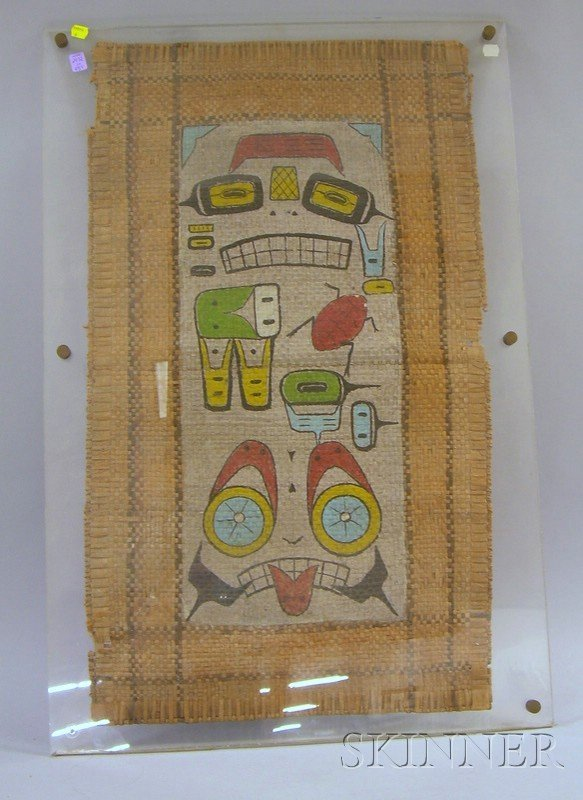 3: Northwest Coast Painted Mat, with pictorial images,