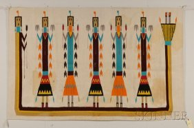 Navajo Yei Rug, Five Central Figures With Striped Ed
