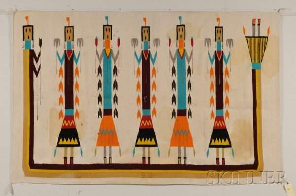7: Navajo Yei Rug, five central figures with striped ed