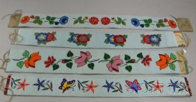 Four Native American Beaded Cloth Belts, With Flora