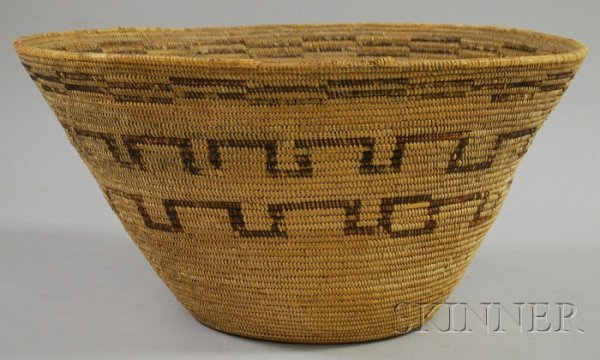 11: Native American Coiled Basketry Bowl, California, h