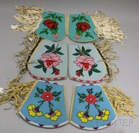 12: Three Pair's Native American Floral Beaded Gauntlet