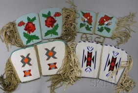 13: Four Pairs of Beaded Hide Gauntlet Cuffs. Provenanc