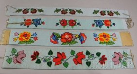 15: Four Native American Floral Beaded Cloth Belts. Pro