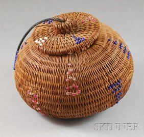 Native American Woven And Beaded Basket, With Red,