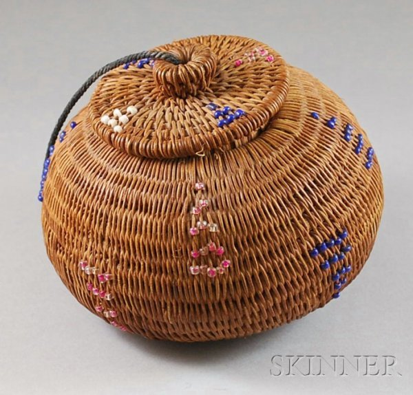 16: Native American Woven and Beaded Basket, with red,