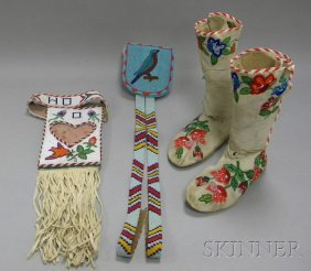 Three-Piece Native American Pictorial Beaded Group,