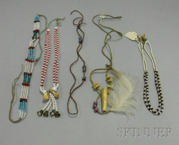 20: Five Native American Plains Beaded Necklaces. Prove