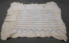 102: Plains Beaded Hide Robe, linear beadwork, approx.