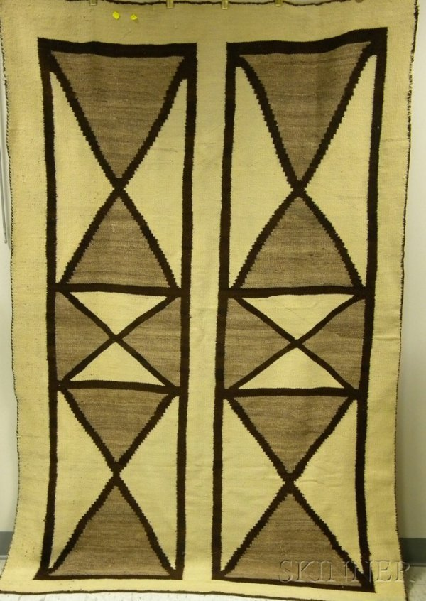 155: Brown and White Navajo Blanket, wd. 54, lg. 82 in.