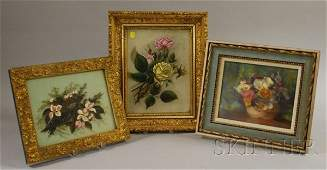 441 Lot of Three Floral Still Lifes two oil on glass