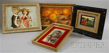 475 Lot of Four Framed Works including an oil on canv