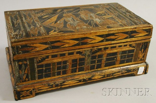 502: Prisoner of War Strawwork Box, France, early 19th