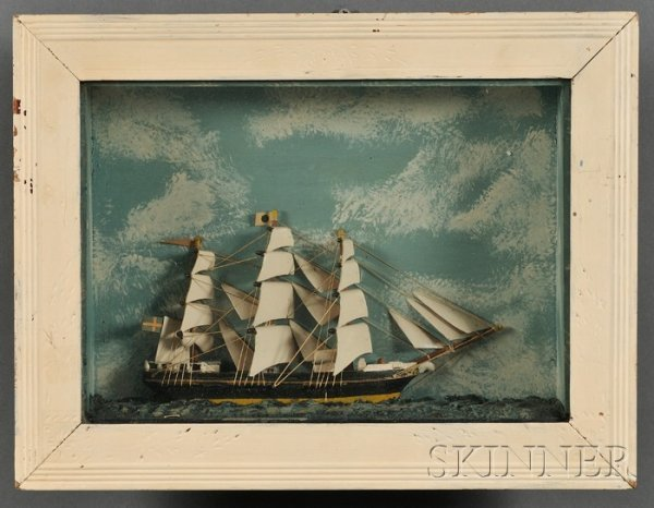 504: Ship Diorama, late 19th century, with painted sky