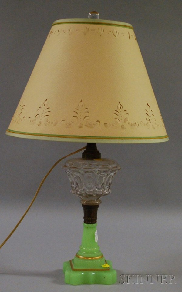508: Colorless and Jade Green Pressed Glass Fluid Lamp,
