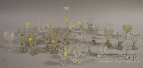 509: Thirty-nine Pieces of Colorless Blown and Cut Glas