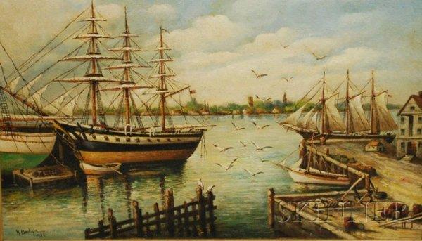 510: Henry Bedigie Oil on Masonite Harbor View, Probabl