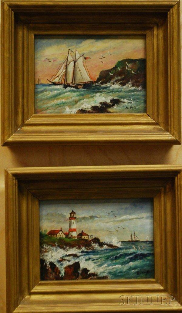 511: Two Henry Bedigie Oil on Artist Board Works Depict