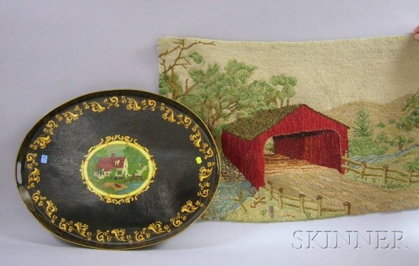 512: Covered Bridge in Landscape Pictorial Hooked Rug a