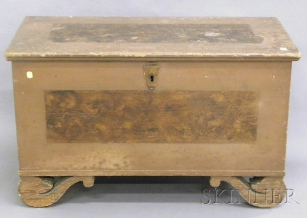 515: Small Empire Painted and Decorated Pine Dovetail-c