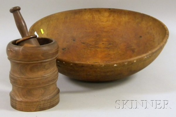 517: Large Turned Wooden Bowl, a Burl Walnut Mortar and