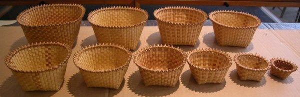 519: Nest of Ten Small Woven Splint Baskets, America, l