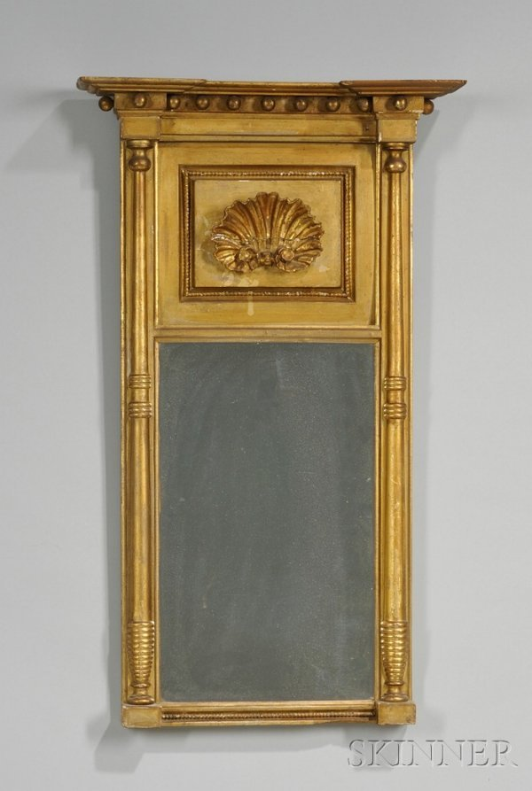 576: Federal Giltwood and Gesso Tabernacle Mirror with