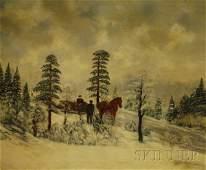 589 American School 20th Century Winter Scene Signed