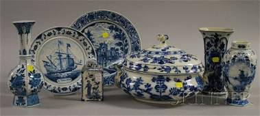677: Seven Assorted Blue and White Decorated Ceramic Ta