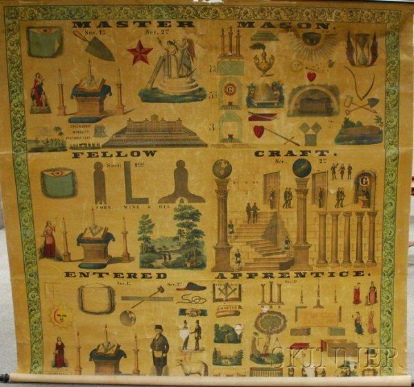 "849: Large Masonic ""MASTER'S CARPET"" Lithograph Scrolle"