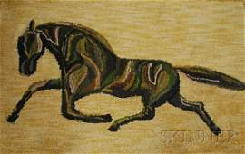 974: Running Horse Pattern Hooked Rug, 31 x 49 1/2 in.