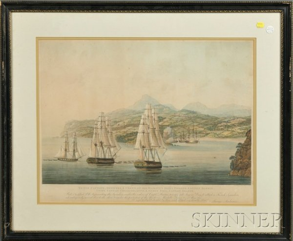 10A: Set of Three Framed British Hand-tinted Prints of